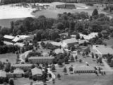 Aerial view of campus and Music Festival